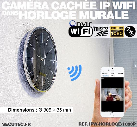 Installation Horloge murale caméra cachée IP WIFI HD 1080P