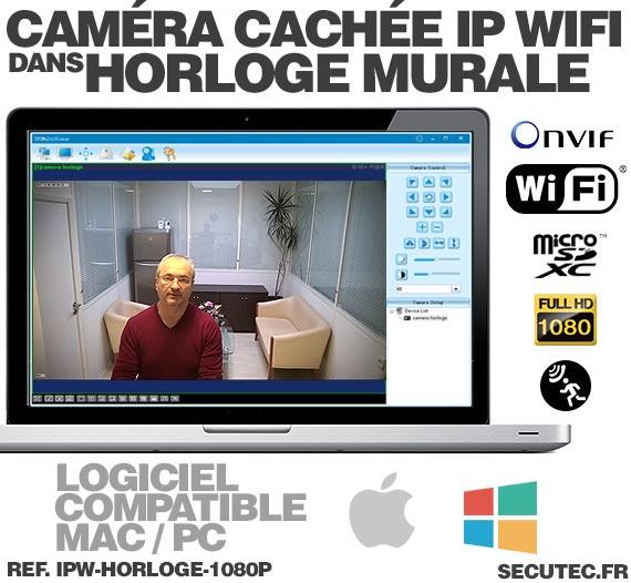 CMS Horloge murale caméra cachée IP WIFI HD 1080P