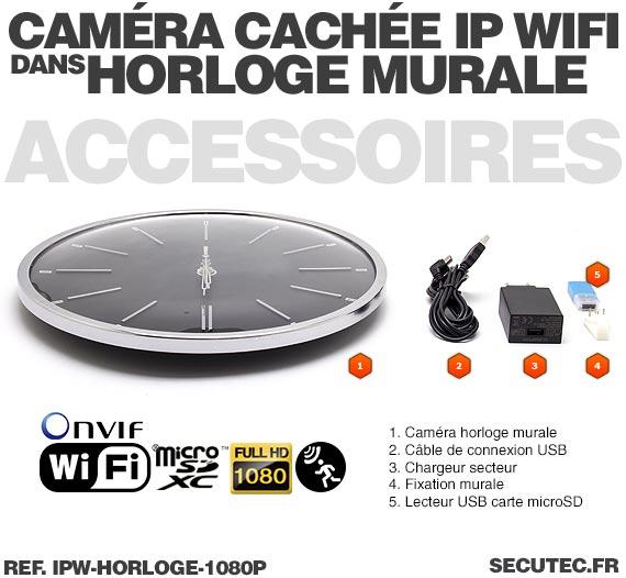 Accessoires Horloge murale caméra cachée IP WIFI HD 1080P