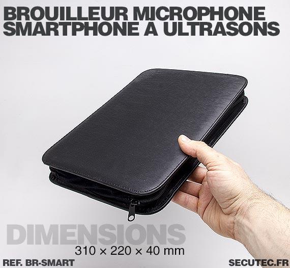 Dimensions Brouilleur de microphone à ultrasons portable autonome