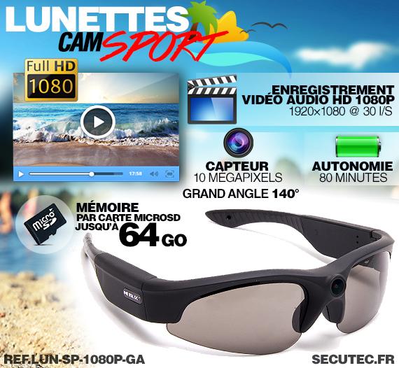 Lunettes caméra sport HD 1080P 16Go fonctionnement