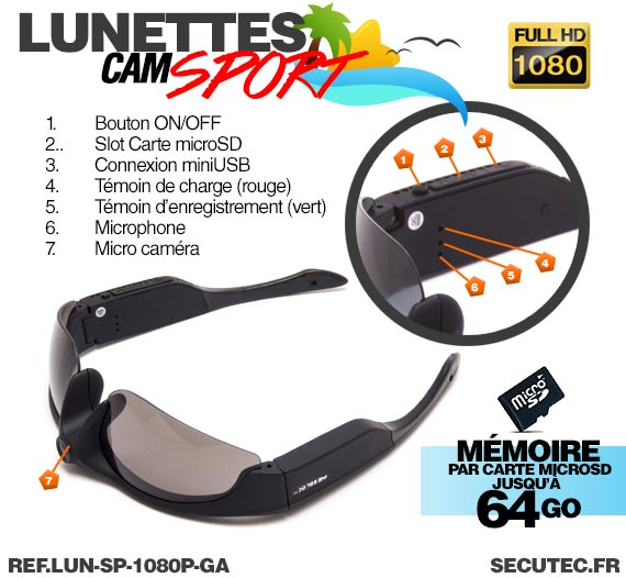 Lunettes caméra sport HD 1080P 16Go description