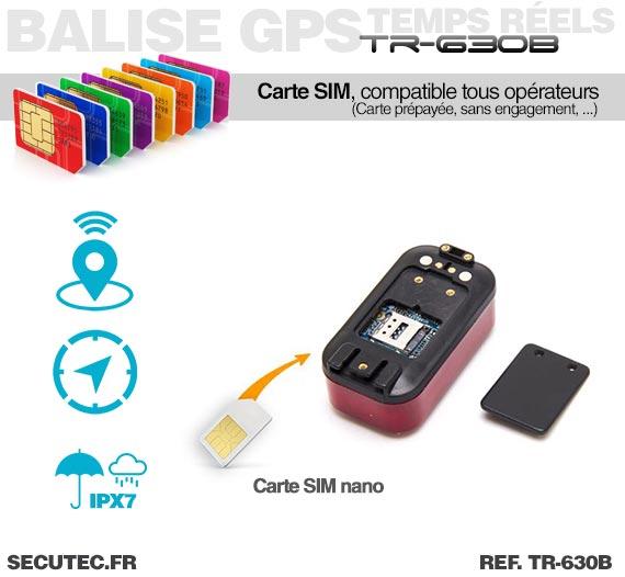 Carte nano SIM Balise GPS / GSM pour vélo cachée dans un feux arrière