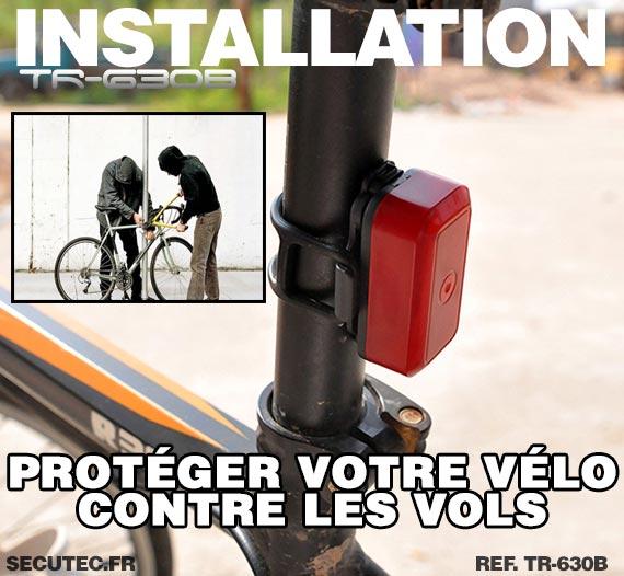 Installation Balise GPS / GSM pour vélo cachée dans un feux arrière
