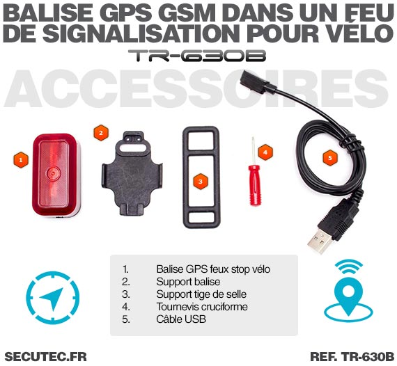 Accessoires Balise GPS / GSM pour vélo cachée dans un feux arrière