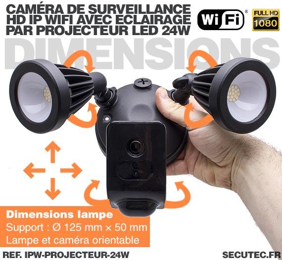 Double projecteur LED 24W avec caméra extérieure IP Wi-Fi