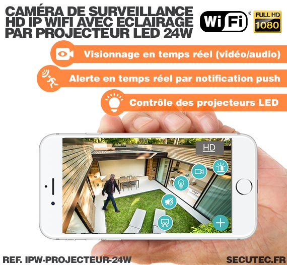 Double projecteur LED 24W avec caméra extérieure IP Wi-Fi HD 1080P avec détection de mouvement PIR