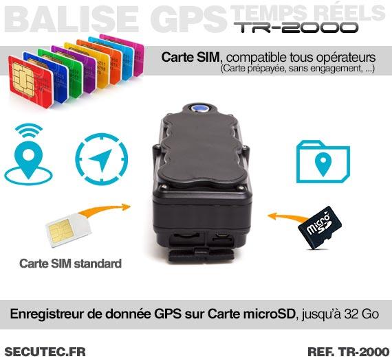 Carte SIM et SD Balise GPS / GSM / WiFi localisation en temps réel