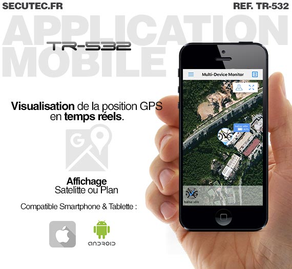 Balise GPS / GSM ultra plate type carte de credit / Application iPhone