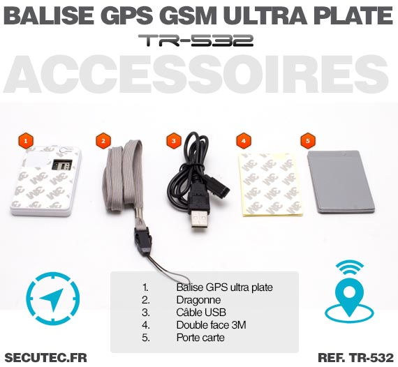 Balise GPS / GSM ultra plate type carte de credit / Accessoire
