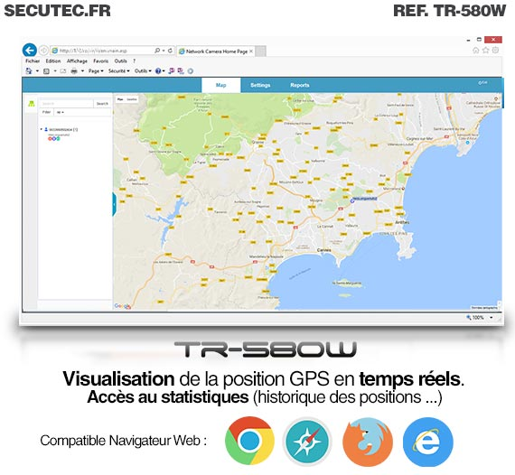 Micro Balise GPS / GSM / WiFi autonome - Navigateur web