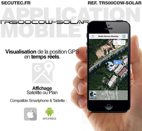 Collier traceur GPS / GSM sans abonnement solaire autonome pour animaux : vache, cheval, mouton, etc