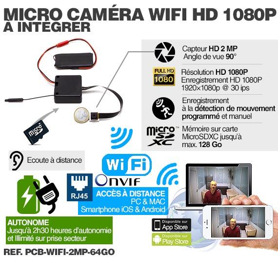 Micro caméra à integrer IP Wi-Fi P2P / Fonctionnement