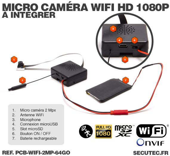Micro caméra à integrer IP Wi-Fi P2P / Description