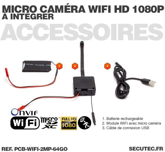 Micro caméra à integrer IP Wi-Fi P2P / Accessoires