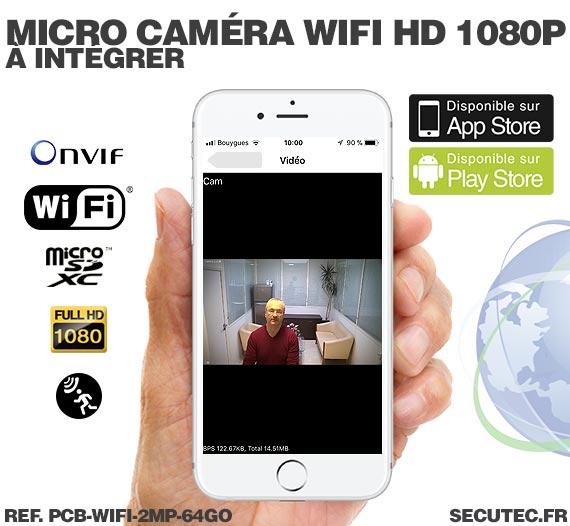 Micro caméra à integrer IP Wi-Fi P2P / smartphone