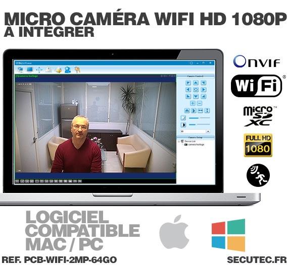 Micro caméra à integrer IP Wi-Fi P2P / PC-MAC