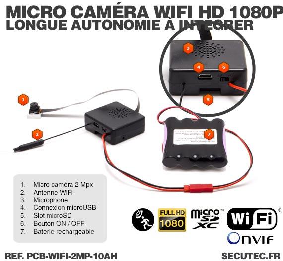 Micro caméra à integrer IP Wi-Fi P2P longue autonomie