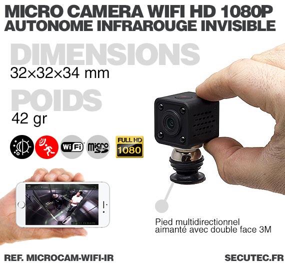 dimensions Micro caméra WiFi HD 1080P autonome avec infrarouge invisible