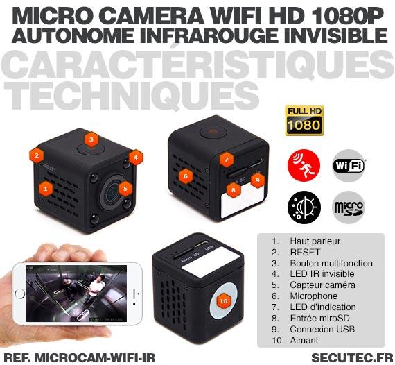 Caractéristique Micro caméra WiFi HD 1080P autonome avec infrarouge invisible