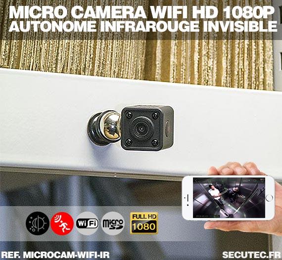 Vue Micro caméra WiFi HD 1080P autonome avec infrarouge invisible