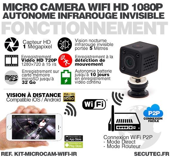 Fonctionnement Kit micro caméra WiFi HD 1080P autonome avec infrarouge invisible mémoire avec batterie longue autonomie 30A et m
