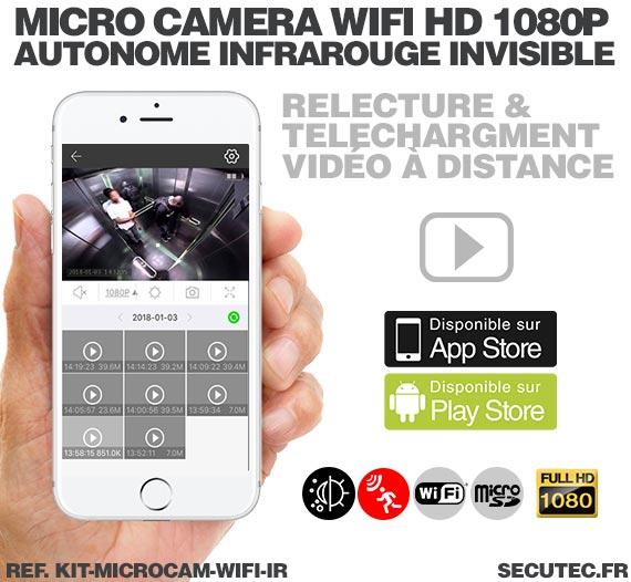 Application iOS Kit micro caméra WiFi HD 1080P autonome avec infrarouge invisible mémoire avec batterie longue autonomie 30A et
