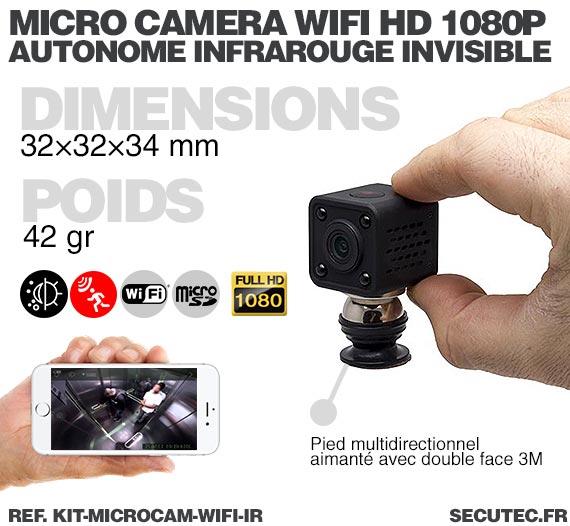 Dimensions Kit micro caméra WiFi HD 1080P autonome avec infrarouge invisible mémoire avec batterie longue autonomie 30A et micro