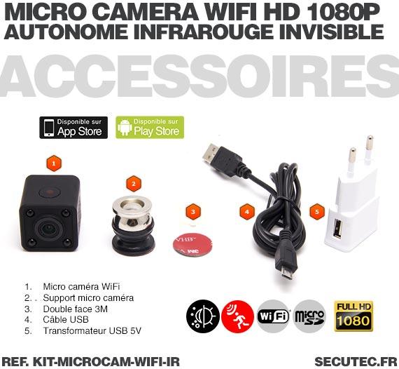 Accessoires Kit micro caméra WiFi HD 1080P autonome avec infrarouge invisible mémoire avec batterie longue autonomie 30A et micr