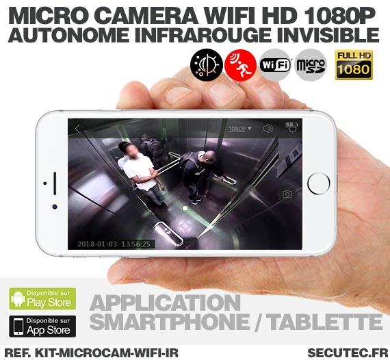 Application android Kit micro caméra WiFi HD 1080P autonome avec infrarouge invisible mémoire avec batterie longue autonomie 30A