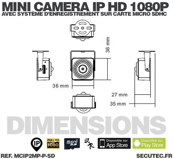 Mini caméra IP HD 1080P capteur pinhole 2MP 3.7mm 90° avec alarme audio et enregistrement sur carte micro SDHC