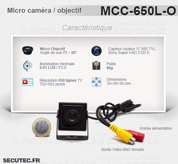 Micro caméra carrée couleur 650 lignes avec micro objectif