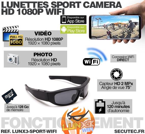 Fonctionnement Lunettes caméra sport Wi-Fi Full HD 1080P