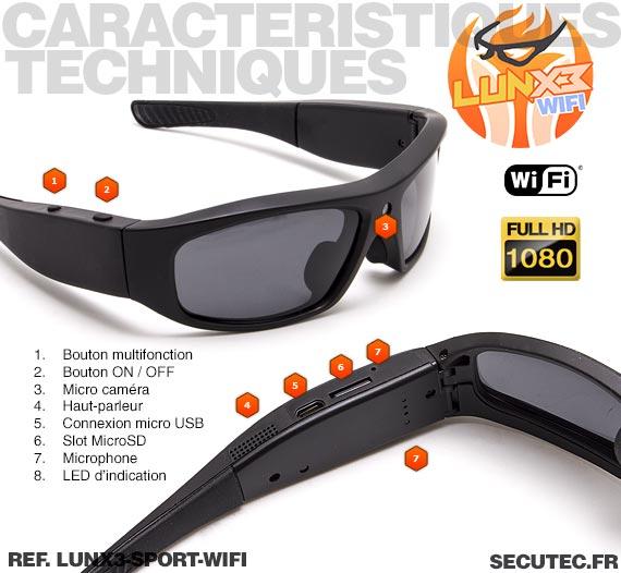 Caracteristiques Lunettes caméra sport Wi-Fi Full HD 1080P