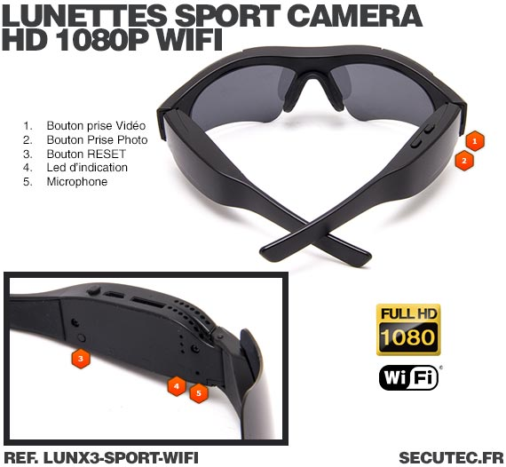 Lunettes caméra sport Wi-Fi Full HD 1080P