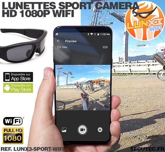 Application smartphone Lunettes caméra sport Wi-Fi Full HD 1080P