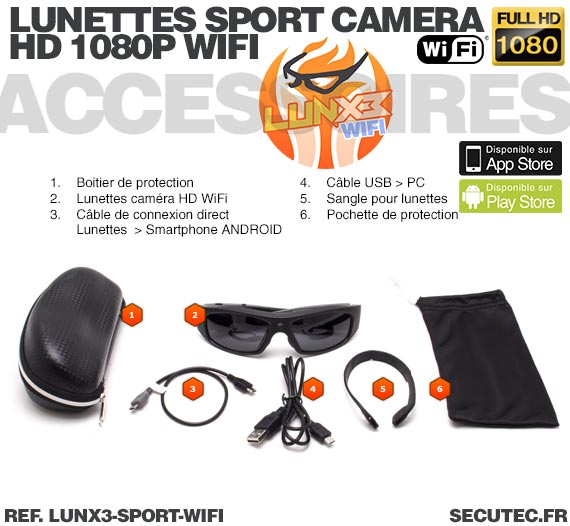Accessoires Lunettes caméra sport Wi-Fi Full HD 1080P