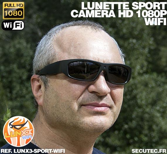 Lunettes caméra sport Wi-Fi Full HD 1080P portée