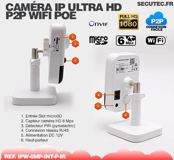 Caracteristique technique Caméra IP intelligente WiFi P2P HD 6 Mpx avec Infrarouge et Détecteur PIR