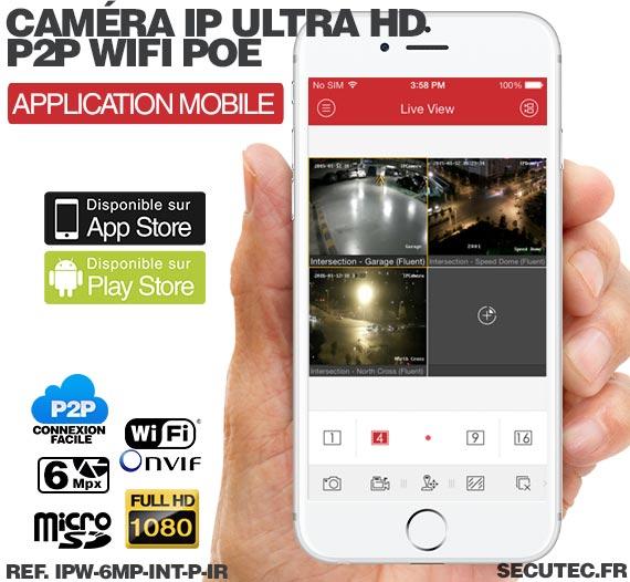 smartphone Caméra IP intelligente WiFi P2P HD 6 Mpx avec Infrarouge et Détecteur PIR