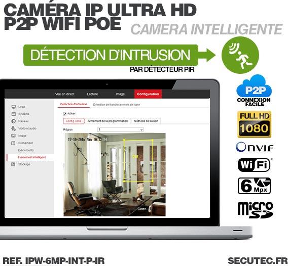 PC MAC Caméra IP intelligente WiFi P2P HD 6 Mpx avec Infrarouge et Détecteur PIR