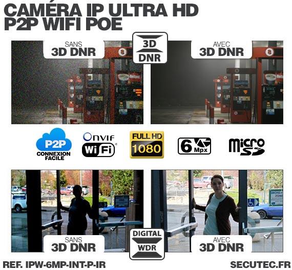 WDR Caméra IP intelligente WiFi P2P HD 6 Mpx avec Infrarouge et Détecteur PIR