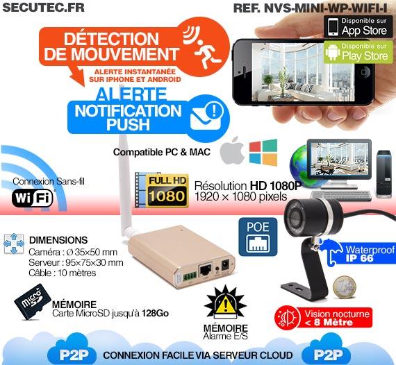 Micro caméra infrarouge Waterproof WiFi HD 1080P et SDHC avec détection et accès smartphone