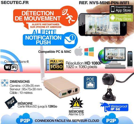 Micro caméra pinhole Waterproof WiFi HD 1080P et SDHC avec détection et accès smartphone