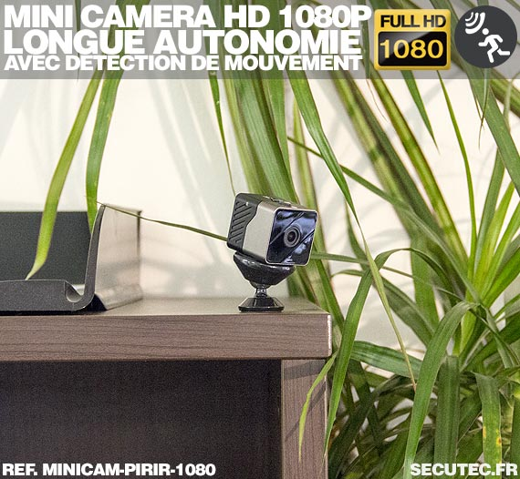 Mini caméra Full HD 1080P longue autonomie avec détection de mouvement par capteur PIR, vision nocturne par infrarouge invisible
