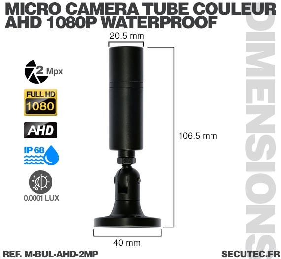 Mini caméra tube hybride 2 Mpx AHD 1080P Analogique waterproof ultra basse luminosité