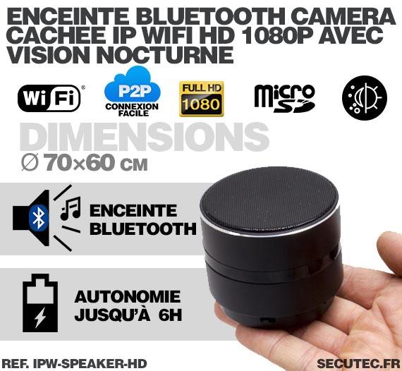 Enceinte bluetooth lecteur mp3 portable avec caméra cachée IP Wi-Fi Full HD 1080P avec carte microSD 64 Go