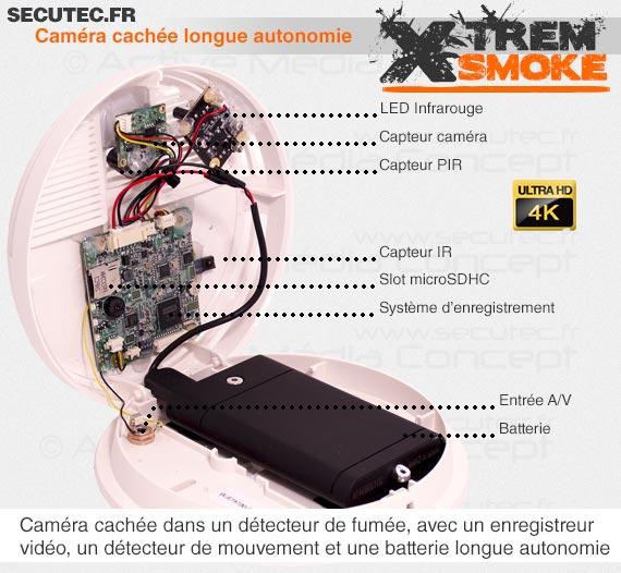 Caméra cachée ultra HD 4K dans un détecteur de fumée longue autonomie avec détection de mouvement