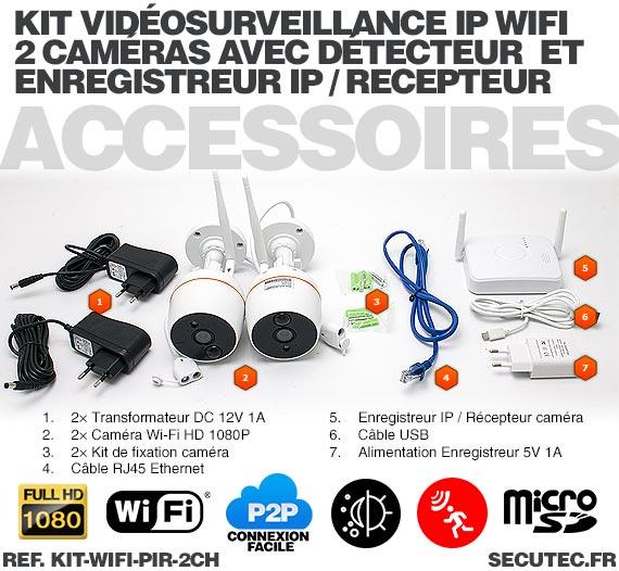 Kit 2 caméras Wi-Fi HD 1080P