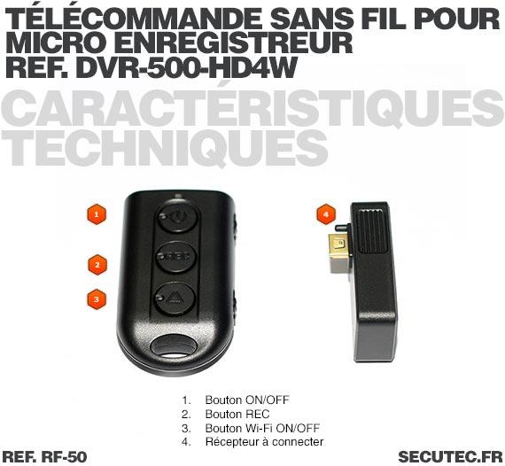 Télécommande Sans fil pour micro enregistreur réf.DVR-500-HD4W